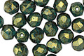 Czech Fire Polished Glass Emerald Green w/ Gold Luster Round 6mm