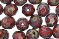 Czech Fire Polished Glass Opaque Red Picasso Round 8mm