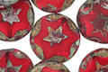 Czech Glass Pomegranate Starflower Coin w/ Scalloped Edge 15mm