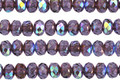 Czech Glass Violet AB w/ Bronze Fire Polished Rondelle 3x5mm