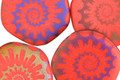 Czech Glass Laser Etched Ammonite on Coral w/ Rainbow Finish Freeform Coin 19mm