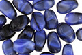 Czech Glass Blue Suede Shoes Twisted Rice 9x6mm