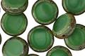 Czech Glass Liquid Emerald Picasso Coin 11mm