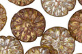 Czech Glass Glowing Amber Picasso Dahlia Flower Coin 14mm
