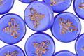 Czech Glass Bronzed Indigo Silk Bee Coin 12mm