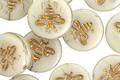 Czech Glass Vanilla w/ Gold Bee Coin 12mm