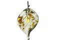 Czech Glass Sage w/ Gold Flecks Twisted Leaf Drop 14x23mm