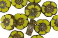 Czech Glass Chartreuse Picasso Hibiscus Coin 10mm