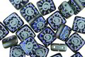 Czech Glass Laser Etched Sun on Turquoise w/ Iris Blue Finish 2-Hole Tile 6mm