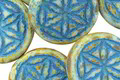 Czech Glass Bisque Picasso w/ Turquoise Flower of Life Geometry Coin 19mm
