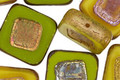 Czech Glass Garden Greens w/ Metallic Picasso Carved Square 16mm