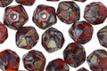 Czech Glass Garnet Picasso English Cut Bead 6x8mm