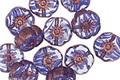 Czech Glass Bronzed Crystal/Wisteria Hibiscus Coin 9mm