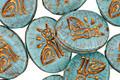 Czech Glass Turquoise Oval w/ Bronzed Sphinx 15x12mm
