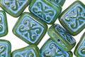 Czech Glass Turquoise Picasso w/ Aqua Ornamental Rectangle 11x12mm