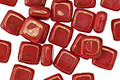 Czech Glass Coral Red 2-Hole Tile 6mm