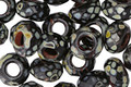 Czech Glass Black Picasso Large Hole Fire Polished Rondelle 6x9mm
