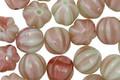 Czech Glass Pistachio/Raspberry Swirl Melon Round 8mm