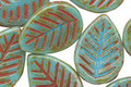 Czech Glass Turquoise Picasso Carved Leaf Drop 12x17mm