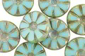 Czech Glass Green Turquoise Picasso Flower Window Coin 12mm