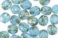 Czech Glass Aquamarine Waters w/ Gold Flecks Fire Polished Round 6mm