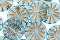 Czech Glass Aqua Blue w/ Bronzed Daisy Coin 12mm
