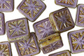 Czech Glass Wisteria Picasso Flower Window Square 10mm
