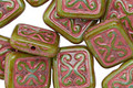 Czech Glass Pearlized Moss w/ Pink Ornamental Rectangle 11x12mm