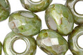 Czech Glass Luster Greenstone Large Hole Fire Polished Rondelle 8x12mm