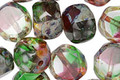 Czech Glass Bright Christmas Picasso 2-Way Faceted Round Nugget 12mm