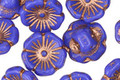 Czech Glass Cornflower Blue w/ Copper Flower Button 13mm