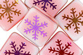 Czech Glass Laser Etched Snowflake on Peppermint Twist w/ Rainbow Finish Puff Square 15mm