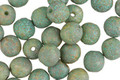 Czech Glass Etched Bisque w/ Turquoise Patina Round Druk 6mm