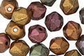 Czech Glass Matte Autumn Metallics English Cut Bead 6x8mm