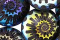 Czech Glass Laser Etched Ammonite on Jet w/ Rainbow Finish Puff Coin 20mm