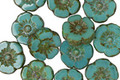 Czech Glass Persian Turquoise Picasso Hibiscus Coin 10mm