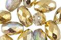 Czech Glass Light Sapphire AB w/ Gold Faceted Rice 12x8mm