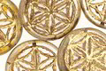 Czech Glass Crystal Picasso w/ Gold Flower of Life Geometry Coin 19mm