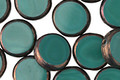 Czech Glass Persian Turquoise Coin w/ Copper Edge 11mm
