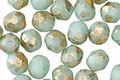 Czech Glass Sweet Mint w/ Gold Flecks Fire Polished Round 6mm