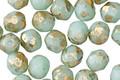 Czech Glass Sweet Mint w/ Gold Flecks Fire Polished Round 6mm