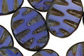 Czech Glass Denim Dreams Groovy Oval 18x14mm