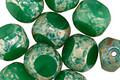 Czech Glass Green Jade Picasso Trica Beads 10mm