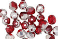 Czech Fire Polished Glass Siam Ruby w/ Silver Luster Round 5mm