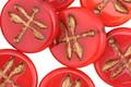 Czech Glass Bronzed Apple Dragonfly Coin 17mm