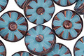 Czech Glass Bronzed Caribbean Blue Flower Window Coin 12mm