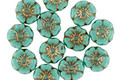 Czech Glass Bronzed Turquoise Hibiscus Coin 7mm