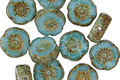 Czech Glass Turquoise Picasso Hibiscus Coin 9mm