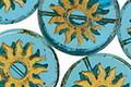 Czech Glass Coastal Blue w/ Gold Sun Coin 22mm