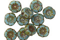Czech Glass Opaque Turquoise Picasso Hibiscus Coin 7mm